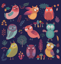 Cute woodland owls funny characters vector