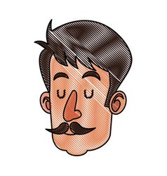 Drawing head man with mustache close eyes vector
