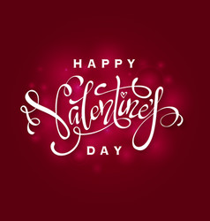 elegant lettering of happy valentines day vector image
