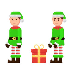 elf in a green suit with a gift flat character vector image