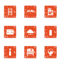 Encryption icons set grunge style vector