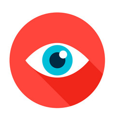 eye flat circle icon vector image