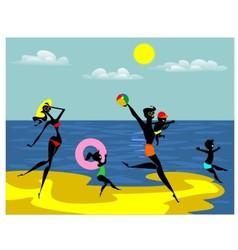 Family on the beach vector image