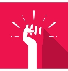 Fist hand up icon revolution logo freedom vector