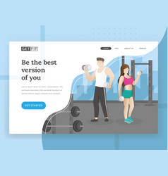 fitness landing page vector image