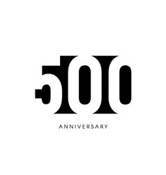 five hundred anniversary minimalistic logo five vector image