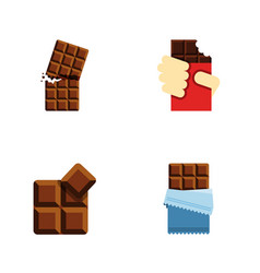 Flat icon cacao set of cocoa wrapper shaped box vector