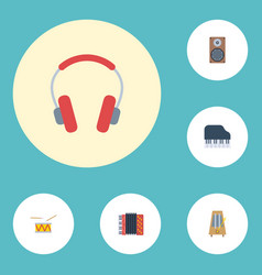 Flat icons octave keyboard tambourine earphone vector
