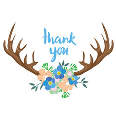 floral antlers vector image