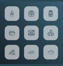 food icons line style set with glass of oil vector image