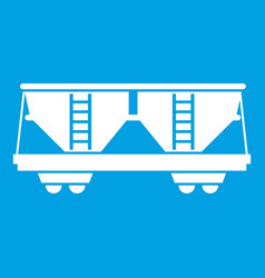 Freight railroad car icon white vector