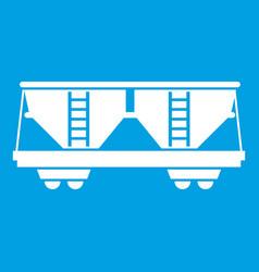 Freight railroad car icon white vector