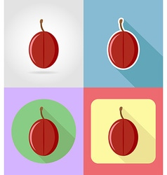 fruits flat icons 06 vector image