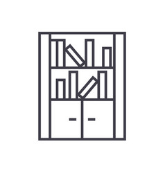 furniture librarybookcase line icon sign vector image vector image