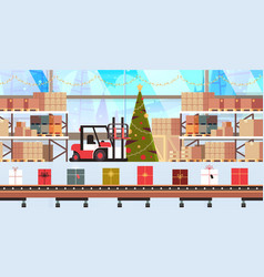 gift present boxes factory on conveyor belt vector image