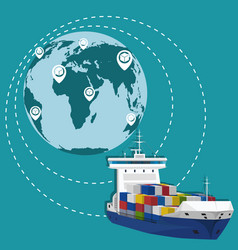 Global network of commercial maritime shipping vector