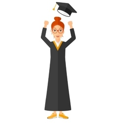Graduate throwing up her hat vector