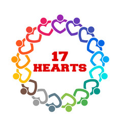 group of 17 heart people together stand vector image