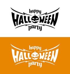 happy halloween party title logo template bat vector image