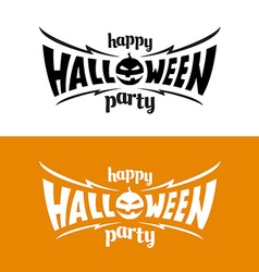happy halloween party title logo template bat wing vector image