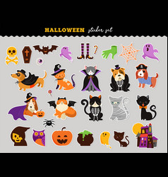 happy halloween - stickers set of cats and dogs in vector image