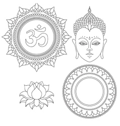 Head of Buddha Om sign Hand drawn lotus flower vector