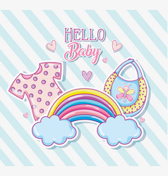 Hello baby cute cartoons card vector