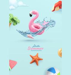 hello summer background 3d realistic flamingo vector image