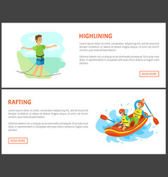 highlining man and rafting summer sports set vector image
