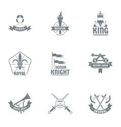 honor logo set simple style vector image