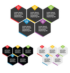 infographic hexagon set in color design vector image