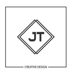 initial jt letter logo template design vector image