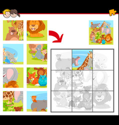 jigsaw puzzles with cartoon happy animals vector image