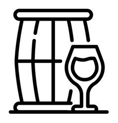 Keg and a glass icon outline style vector