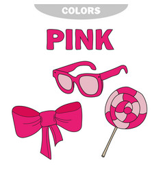 learn the color pink - things that are pink color vector image