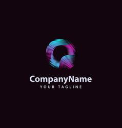 letter q modern wave line logo design template vector image