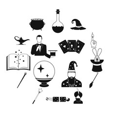 Magic simple icons set vector