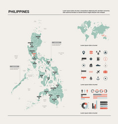Map philippines country map with division vector