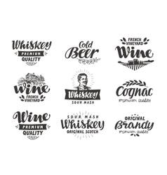 Menu alcoholic drinks labels wine beer vector