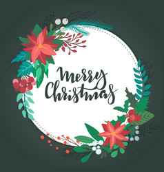 merry christmas greeting card ith floral wreath vector image