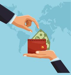 money transfer around world vector image