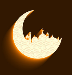 Mosque and moon background vector