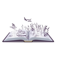 Open book tale Thumbelina vector