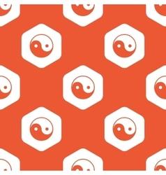 Orange hexagon ying yang pattern vector