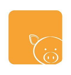 orange square picture of pig animal vector image