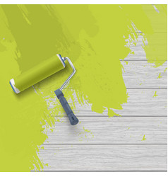 Painting wooden wall with roller brush and green vector