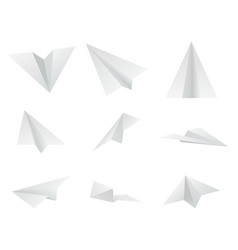 paper design origami airplanes isolated icons set vector image