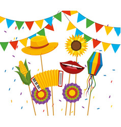 Party banner with hat and flowers to festa junina vector