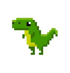 Pixelated green cartoon dinosaur - isolated vector