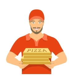 Pizza delivery boy holding cardboard boxes vector image